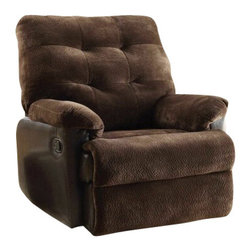 "Acme - Layce 2 Tone Chocolate Morgan Fabric & Leather-Like Standard Motion Recliner Cha - Layce 2 tone chocolate morgan fabric and leather like standard motion recliner chair with overstuffed seats and arms. This recliner features a and a 2 tone chocolate morgan fabric and leather like upholstery with a release latch on the side of the recliner, this is a manual recliner you need to push the footrest back to lock it in. Recliner measures 38"" x 37"" x 41""H. Some assembly may be required."
