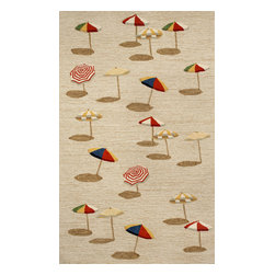 """Trans-Ocean Inc - Beach Umbrella Natural 42"""" x 66"""" Indoor/Outdoor Rug - Richly blended colors add vitality and sophistication to playful novelty designs. Lightweight loosely tufted Indoor Outdoor rugs made of synthetic materials in China and UV stabilized to resist fading. These whimsical rugs are sure to liven up any indoor or outdoor space, and their easy care and durability make them ideal for kitchens, bathrooms, and porches; Primary color: Natural;"""
