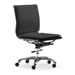 Zuo Modern - Lider Plus Armless Office Chair Black - With its ergonomic shape, padded back and seat cushions, the Lider Plus armless chair works in comfort. It has a chromed steel frame with soft neoprene arm pads. DISCLAIMER: Zuo Modern Contemporary, Inc. is not affiliated with Herman Miller, Inc. and its products are not affiliated with Eames Aluminum Group or Softpad products. .