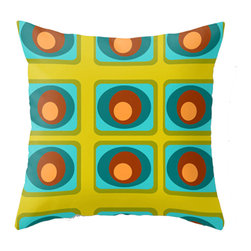 Crash Pad Designs - Midcentury Modern Pillow - A fun pillow can change an entire room. Style your room with this mod & playful pillow. On a sofa, a chair, or bed it's sure to make you smile. Double sided print pillow, made from 100% spun polyester poplin fabric w/ a hidden zipper closure & a polyester fill insert.  Original Crash Pad Designs fabric.