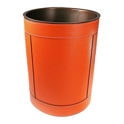 B Home Interiors Copper Leather Wastebasket, Orange - Never underestimate the little details in a room; they can create gorgeous layers. This trash can shows off orange Italian leather with contrasting stitching, and I think it would add instant sophistication to an office.