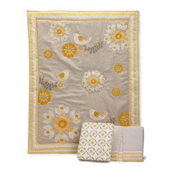 Bananafish Nursery Bedding - MiGi Sweet Sunshine 3 Piece Crib Bedding Set - MiGi sweet sunshine 3-piece crib bedding set features a sophisticated neutral palette in a combination of grey and yellow. Cotton sheeting, faux suede, corduroy and velour are used to create flowers, birds and vines in this contemporary design. The set includes a comforter that reverses to an allover print with cotton backing, 100% cotton crib sheet in a coordinating allover print, and a front pleated crib skirt in grey with stripe edge detail, which includes embroidered and appliqued coordinating flowers. Designed by the MiGi girls, Michele Adams and Gia Russo, who are moms to toddlers.