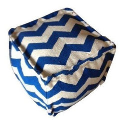 Blue & White Zig Zag Pouf - Bright blue zig zag patterned pouf made of wool.  Great extra seating with a hip graphic color pop!