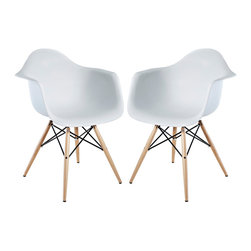 """Modway - Modway EEI-929 Pyramid Dining Armchair Set of 2 in White - Wood Pyramid Armchairs are crafted out of molded plastic for the seat and a solid wood """"pyramid"""" base.  Comfortable and versatile, this chair can be used to decorate any space."""
