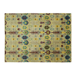 Manhattan Rugs - New Modern Blue Gray/Multi-Color Ikat 10x14 Hand Knotted European Wool Rug H3826 - This Is a True Hand Knotted Oriental Rug. It Is Not Hand Tufted with Backing, Not Hooked or Machine Made. Our Entire Inventory Is Made of Hand Knotted Rugs. (All We Do Is Hand Knotted)