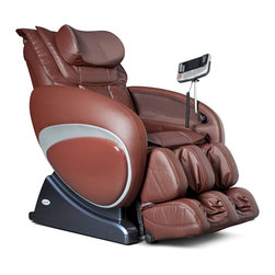 Cozzia - Cozzia Zero Gravity Robotic Massage Chair - Brown - The Cozzia 16027 is a full-featured massage chair with Zero Gravity positioning, a wide variety of massages, and pampers you from head to toe. The 16027 automatically reclines and the back and footrest can be adjusted independently. It scans your body to determine your height and adjusts the massage area to fit. The back rest rail is S-shaped to conform to your body shape. Massage features include Swedish, Shiatsu, kneading, clapping, tapping, rolling, and vibration. There are six pre-programmed massages, five levels of speed and intensity, and three width adjustments. Partial massage options are also available. The seat has a built-in vibration massage and there is an invigorating air pressure system for the lower body. Massages can be programmed to last from 5 to 30 minutes and the remote will even turn off the chair when the massage is complete. This massage chair is available in a soft, durable brown synthetic leather finish. The Zero Gravity position is designed to take pressure off of the spine. Cozzia's Zero Gravity chair elevates the knees to the level of the heart, and brings the spine parallel to the ground. By eliminating all vertical pressure on the vertebrae, the connective tissues surrounding your spine are able to relax making massage far more effective. All aspects of the 16027 can be controlled through the state-of-the-art remote control. The LCD displays shows what features are currently activated and makes it easy to customize the massage to your preferences. In addition, the mini-remote makes it easy to control the chair from the fully-reclined zero gravity position. The footrest can be adjusted to fit a variety of adults from short to tall. This feature also helps ensure you get therapy applied to just the right part of your legs, calves and feet.