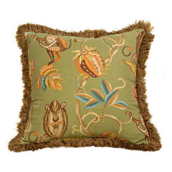 Canaan Company - 20x20 Brush Fringe Trim Accent Pillow - - Cotton Print  - 100% Poly  - Spot Clean Or Dry Clean Canaan Company - P-303
