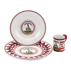 """Artistica - Hand Made in Italy - Palio Di Siena: Giraffa (Giraffe) Place Setting Pre-Pack: Charger+Dinner+Mug - The """"Palio di Siena"""" is a tournament as a replica of a medieval horse race which is ran twice year, during the summer season, in the city of Siena, located in the beautiful Tuscany region."""