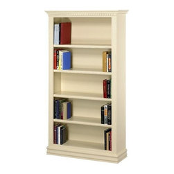 A & E Wood Design - Hampton Bookcase in Pearl White Finish (36 in - Choose Size: 36 in. W x 72 in. HMade in USA. Solid Oak extra wide face frame with concealed screw assembly. Fully assembled. Adjustable shelves with mortise and tenon solid Oak detail trim. Premium Oak lumber solids and furniture grade 3/4 inch Polywood materials. Pearl White Finish. 13 in. L x 36 in. W x 36 in. H (65 lbs.). 13 in. L x 36 in. W x 48 in. H (87 lbs.). 13 in. L x 36 in. W x 60 in. H (107 lbs.). 13 in. L x 36 in. W x 72 in. H (123 lbs.). 13 in. L x 36 in. W x 84 in. H (137 lbs.)