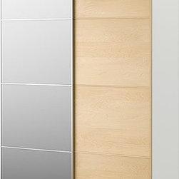 IKEA of Sweden - PAX Wardrobe with sliding doors - Wardrobe with sliding doors, white, Malm mirror glass/birch