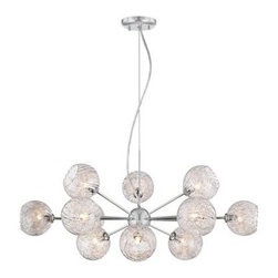 Possini Euro Wired Glass and Chrome 32-Inch-W Chandelier -