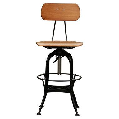 Machinist Swivel Stool - plywood seat on metal frame in nickel or black finish