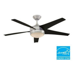 Hampton Bay - Indoor Ceiling Fans: Hampton Bay Windward IV 52 in. Indoor Brushed Nickel Energy - Shop for Lighting & Fans at The Home Depot. The patented High-Efficiency Blade System of the Hampton Bay 52 in. Windward IV in Brushed Nickel finish saves 75% more energy, and moves up to 40% more airflow than standard fans while allowing for ultra-quiet, wobble-free operation. This simple, yet contemporary design has an integrated light kit with frosted opal glass bowl and includes (2) 13-watt GU24 bulbs. The fan's 29 degree steeper blade pitch provides greater air movement, and features a 3-speed reverse function for year-round comfort and savings. The thermostatic remote with LCD screen controls the temperature of your ceiling fan (high, medium, low), on or off, and its programmable feature makes it easy to cool room quickly. This Energy Star rated, Eco Option ceiling fan has less of an impact on the environment than comparable standard ceiling fans.
