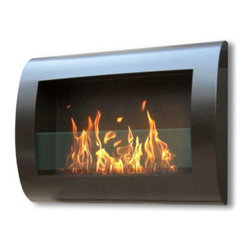 Anywhere Fireplace - Chelsea Wall Mounted Ventless Bio Ethanol Fireplace, Black - The wall mounted, gracefully curved Anywhere Fireplace Chelsea Indoor Wall Mount Fireplace in Black bears a sleek, contemporary design that will make a statement as subtle as it is bold. Born of ingenuity and exact lines, this ethanol burner can be hung anywhere  living room, bedroom, family room, and dining room alike; No need for a vent or flue. This fireplace only emits water vapor and carbon dioxide. No Smell, No Smoke, No Fumes! Stepping off the hearth and out of the box, this ethanol burning fireplace comes with mounting hardware, making it an easy installation and an even easier appliance. With the simple addition of bio-ethanol fuel, prepare to sit back and enjoy the warmth of real, renewable, bio-flames.