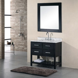 Design Element London 36-in. Single Bathroom Vanity Set - The Design Element London 36-in. Single Bathroom Vanity Set is a squat, useful piece that makes a charming focal point to any design. Featuring a frame made from solid oak, this handsome free-standing vanity has a dark espresso finish and is complemented by satin nickel finished hardware. Four spacious storage drawers are included in the design and an open shelf below the unit act as a stylish place to store extra towels. A slab of Carrera white marble serves as the countertop, with a rectangular ceramic undermount sink. About Design Element GroupBased in California, the Design Element Group is quickly becoming an industry leader, thanks to their focus on maintaining a position at the forefront of emerging trends in furniture design, modern materials, and quality craftsmanship. From their humble beginnings in 2010, Design Element Group has made quite the name for itself, providing high-quality bathroom vanities at an affordable price. Each piece is professionally designed and handcrafted, never mass-produced. Their passion, commitment to their products, and loyalty to their customer base has made the Design Element Group a company to take note of.