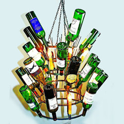 Eight Light Iron Wine Bottle Chandelier - Wine bottles not included. Personalize with your own collection! These unique, hand-crafted accessories are the products of craftsmen working in cottage industries around the world.