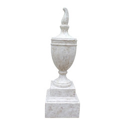 Urn and Flame Finial - The Urn and Flame Finial is a white washed, classical urn accented with opposing brass rings capped with a flame finial and sits atop a traditional double pedestal base with a matching finish. The bulkiness of this traditional object d'art will command attention whether used alone or in a grouping.