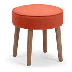 Zuo Accents - Britton Stool, Sunkist - A mod accent piece for the adventurous decorator, the Britton Stool is bold and simple. Rich color, luxurious fabric, sleek modern and classic shape and the occasional subtle rustic feel all add up to outfit your livable style.