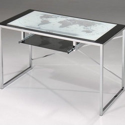 InRoom Designs - Home Office Computer Desk - Features: -Wood solids and veneers.-Chrome finish.-French design accent Nickel hardware.-Distressed: No.Dimensions: -Overall Product Weight: 67.3 lbs.Warranty: -1 Year warranty.