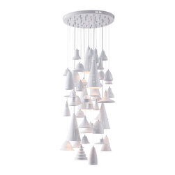 Zuo Modern Contemporary, Inc. - Climate Ceiling Lamp White - A waterfall of pale bells lend a fairytale atmosphere to the Cascade Ceiling Lamp. Made of painted white metal pricked with holes and patterns to let the light shine through. Lovely in a nursery or a crafts room.