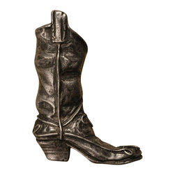 Anne At Home - Boot - Small Right Knob (Set of 10) - Hand cast and finished. Made in the USA. Pewter with brass insert. 2 in. L x 2.75 in. W x 1 in. H