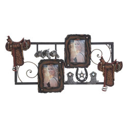 Benzara - Metal PS Wall Photo Frame in Trendy Cowboy accents - Trendy and good-looking, this artistic photo frame exudes a positive ambience and rekindles golden memories. There are two photo frames affixed elegantly in the central portion and finished with dark brown shade. There are exquisitely sculpted patterns around the frames supported by the metal frame. The frame sports excellent metallic accents sprayed around, complementing the cowboy theme that includes protective cowboy gear, metallic horse heads, horseshoes, and star emblems. The long rectangular rim has a convenient metal fixing bracket on the corner to enable hanging it suitably on the wall. Crafted with a cowboy theme and tinged with trendy artwork, this artwork is made of high quality metal that is bestowed with the endurance to grace your wall space for a long time to come. It is a nice gifting option too.