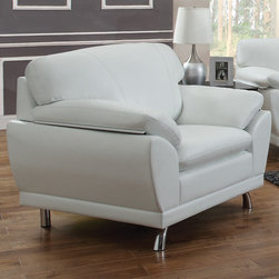 "Coaster - Robyn Chair, White - Create a contemporary living room with our Robyn collection. Each piece sits on stylish chrome legs and is wrapped in a smooth Bonded Leather Match. Also features large cushions, attached seat cushions, pillow top arms and a wood frame. Available in four colors: black, red, dark brown and white.; Contemporary Style; Finish/Color: White; Upholstery: Bonded Leather Match; Dimensions: 43.50""L x 34""W x 30.50""H"