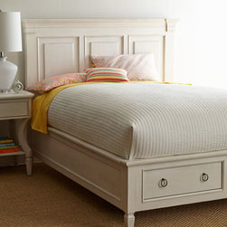 Horchow - Edgewood Queen Storage Bed - With a focus on functionality, this bedroom furniture scaled for smaller living spaces combines timeless silhouettes with metropolitan sensibility for comfort and an easy style of living for a casual state of mind. Box-mitered bead moldings, stylized It...