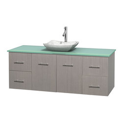 """Wyndham Collection - Centra 60"""" Grey Oak Single Vanity, Green Glass Top, White Carrera Marble Sink - Simplicity and elegance combine in the perfect lines of the Centra vanity by the Wyndham Collection. If cutting-edge contemporary design is your style then the Centra vanity is for you - modern, chic and built to last a lifetime. Available with green glass, pure white man-made stone, ivory marble or white carrera marble counters, with stunning vessel or undermount sink(s) and matching mirror(s). Featuring soft close door hinges, drawer glides, and meticulously finished with brushed chrome hardware. The attention to detail on this beautiful vanity is second to none."""