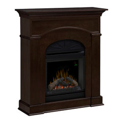 "Dimplex - Dimplex Bronte Mocha Electric Fireplace Mantel Package - The Bronte Mocha Electric Fireplace Mantel Package - DFP20L-1334MA has a Victorian feel in its detailed moldings, beautiful trim and arched details. The rich mocha finish brings everything together adding the final touches of timeless elegance. Create instant ambiance with the simple click of a button - bring to life the dancing flames and the gentle warmth from the fan forced heater. Using Dimplex's patented flame technology, the flickering flames appear to rise from the glowing ember bed and log set. Your guests and perhaps yourself included, may find it hard to believe that it isn't a real fire. Not only will this stunning mantel bring visual warmth to your room, but also physical with its powerful heater. Capable of producing supplemental heat for areas up to 400 Sq. Ft., you won't feel the chill of winter even in the slightest. Not only is this fireplace effective at warming your space, but its also highly energy efficient and economical. Unlike traditional fireplace, this unit creates no harmful particulates and is safe for children and pets to be around. Add an elegant detail and functional piece of furniture to your room with the Bronte Electric Fireplace by Dimplex. Product Dimensions: 39.8"" W x 44.2"" H x 11.4"" D"
