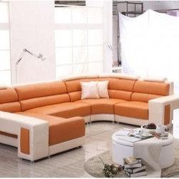TOSH Furniture - Modern Orange and Beige Sectional Sofa Furniture - TOS-FF-F901- - Modern sectional sofa
