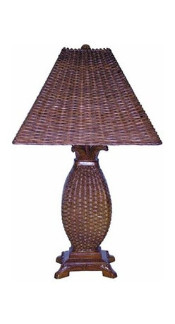 Papila Design - Tropical Wicker Dark Tea Table Lamp with Wicker Shade - -Looks and feels like wicker  -Material: Resin  -Shade Shape: Square Flat  -Shade Material: Wicker, Lining Papila Design - RT810-DT