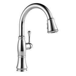"Delta - Delta 9197-DST Cassidy Single-Handle Pull-Down Kitchen Faucet (Chrome) - Delta 9197-DST Cassidy Single-Handle Pull-Down Kitchen Faucet (Chrome). The Delta 9197-DST is part of the Cassidy Series. This beautiful kitchen faucet features a Touch-Clean Two-Function wand spout, a 62"" braided hose for smooth operation, and a lever handle for precise volume and temperature control. It comes with 32"" Innoflex supply lines with 3/8"" compression fittings, a 1.8 GPM flow rate, and a 9-3/8"" long, 15-1/2"" tall spout. This model comes in a bright, Chrome finish."