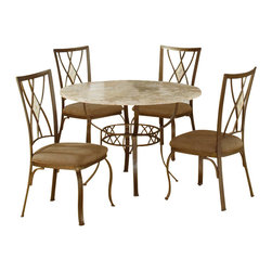 Hillsdale - Hillsdale Brookside 5 Piece Round Dinette Set with Diamond Back Chairs - Hillsdale - Dining Sets - 4815DTRNBCDM - The Hillsdale Brookside 5 Piece Round Dining Table features the lustrous depth and beauty of fossil stone and the classic effect of traditional designs. It also boasts a beautifully styled metalwork base with a diamond motif. This dining set's natural organic elements will add the calmness and warmth of real stonework to your home.