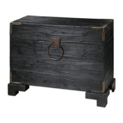 Carino Wooden Trunk Table - Black Satin, Solid Fir Wood With Natural Knots And Deep Grains With Copper Brown Metal Accents. Non-latching Top With Safety Hinges. Generous Storage Inside. Bulbs Included: No
