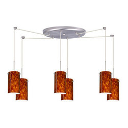 Besa Lighting - Besa Lighting 6BC-440418 Stilo 6 Light Cord-Hung Mini Pendant - Stilo 7 is a classic open-ended cylinder of handcrafted glass, a shape that will stand the test of time. Our Amber Cloud glass is full of floating, vibrant warm tones that range from light gold to deep amber. When lit, the humid color palette illuminates to exude a harmonious display. This decor is created by rolling molten glass in small bits of brown hues called frit. The result is a multi-layered blown glass, where frit color is nestled between an opal inner layer and a clear glossy outer layer. This blown glass is handcrafted by a skilled artisan, utilizing century-old techniques passed down from generation to generation. Each piece of this decor has its own artistic nature that can be individually appreciated. The cord pendant fixture is equipped with six (6) 10' SVT cordsets and a 6-light large round canopy, six (6) suspension stemhooks included.Features: