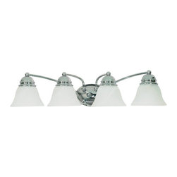 "Nuvo Lighting - Nuvo Lighting 60/339 Four Light Reversible Lighting 28.75"" Wide Bathroom Fixture - *Four light reversible lighting bathroom fixture featuring alabaster glass shades"