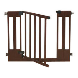 """Summer Infant - Sure & Secure Deluxe Wood Walk-Thru Gate - The Sure&Secure Deluxe Wood Walk-Thru Gate is a versatile new gate from Summer Infant. It has the option of being mounted with hardware or pressure, meaning it can be used at stairways with installation hardware, and can be used in other areas, like doorways, with pressure pads that won't mar walls or woodwork. It is made of stylish furniture grade hardwood and features a door that closes automatically. 29"""" high it extends up to 40.5"""" wide with included extensions."""