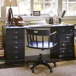 Printer's Desk Set, Artisanal Black stain - A vintage printer's cabinet with dozens of small ...