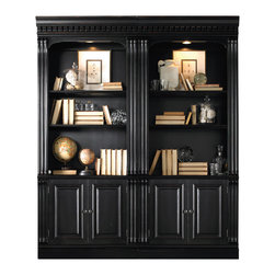 """Hooker Furniture - Telluride Bunching Bookcase with Doors - White glove, in-home delivery included!  Furniture assembly included!  Each Bookcase sold separately.  Two Bookcases are shown.  Telluride�s black paint finish with heavy reddish brown rub-through, carved leather panels and nail head trim give this home office furniture a rich masculine look.  One adjustable wood-framed glass shelf, one adjustable shelf, two doors with one adjustable shelf behind, one canister light controlled by three-intensity touch switch.  Full door opening: 34 1/2"""" w x 12 3/4"""" d x 23 7/8"""" h  Shelf: 34 1/4"""" w x 12 3/4"""" d"""