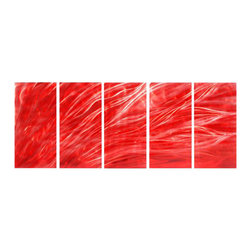 Pure Art - Fiery Passion Metal Wall Sculpture Set of 5 - Rich red has been used to create a look of depth and character to resemble flame like forms dancing across this work of art. This five panel metal wall hanging group is the perfect selection for adding an abstract look to any modern or contemporary home decor. Also a great choice for your office walls. Panels can be secured to walls using the provided welded brackets on back of eachMade with top grade aluminum material and handcrafted with the use of special colors, it is a very appealing piece that sticks out with its genuine glow. Easy to hang and clean.