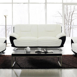 None - Alicia White/ Black Faux Leather Modern Sofa - Complete your contemporary decor with the bold style of this sofa. This sofa features two-tone upholstery in black and white complemented by silvertone legs.