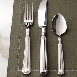 "Henckels - Henckels 45-Piece ""Vintage"" Flatware Service - An 1820s-inspired fiddle-and-thread pattern on the handles gives this flatware vintage appeal. Made of 18/10 stainless steel. Dishwasher safe. Service includes eight five-piece place settings plus a five-piece hostess set. Imported."