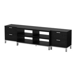 South Shore - South Shore Flexible Media Center in Black Oak - South Shore - TV Stands - 3347A3 - This Flexible Media Center features 4 easily accessible open storage spaces in the TV stand and 4 drawers through the 2 side units. Their matte metal legs and handles are matched with a metal-like base and a rich Black Oak finish that blends well with any contemporary decor. Mix and match it with other items of the Flexible collection to customize your living areas according to your tastes and needs.