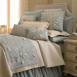 """""""Sea Blue"""" Bed Linens - Soft sea blues combined with crisp whites will have you dreaming of blue skies and the white sails of sailboats upon the sea.  Summer will soon be here and you'll be ready with """"Sea Blue"""" bed linens.   Bed scarves are beautifully embroidered by hand."""