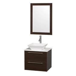 "Wyndham - Amare 24"" Wall Vanity Set in Espresso with White Stone Top & White Porcelain Sin - Modern clean lines and a truly elegant design aesthetic meet affordability in the Wyndham Collection Amare Vanity. Available with green glass or pure white man-made stone counters, and featuring soft close door hinges and drawer glides, you'll never hear a noisy door again! Meticulously finished with brushed Chrome hardware, the attention to detail on this elegant contemporary vanity is unrivalled.; Constructed of beautiful veneers over the highest grade MDF, engineered for durability, and to prevent warping and last a lifetime; 8-stage preparation, veneering and finishing process; Highly water-resistant low V.O.C. sealed finish; Unique and striking contemporary design; Modern Wall-Mount Design; Deep Doweled Drawers; Fully-extending soft-close drawer slides; Counter options include Green Glass, White Man-Made Stone, and Caesarstone (many colors available); Single-hole faucet mount; Available with Porcelain, Granite, and Marble vessel sink(s); Single-hole faucet mount; Faucet(s) not included; Mirror included; Metal exterior hardware with brushed chrome finish; Two (2) functional drawers; Plenty of storage space; Includes drain assemblies and P-traps for easy assembly; Perfect for small bathrooms and powder rooms; Minimal assembly required; Weight: 153 lbs; Dimensions: Vanity: 24""W x 19-1/2""D x 20-3/8""H Sink adds 5 to 5 1/2"" to height; Mirror(s): 35""L x 26""D x 3""H"