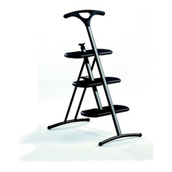 Kartell - Kartell Tiramisu Step Ladder - This is a funtional 3-foot folding step ladder with slip-resistant finish.  Tiramisu features a light supporting structural design: the curved bars offer support on the ground and the handle constitues not only a robust support feature during use, but also a practical functional tool after use.  The lightness of the material, the practicality of the closing mechanism, the bersatile colors and the formal elegance allow Tiramisu to be used with total freedom in any furnishing context.  The step ladder can support a maximum weight of 570 lbs and can be wall-mounted.  Available in three color options: white, black, or metallized dark grey.  Manufactured by Kartell.