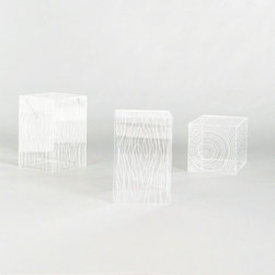 Timber Table - These acrylic timber tables are fascinating! They may be crystal clear, but their texture makes them anything but invisible.