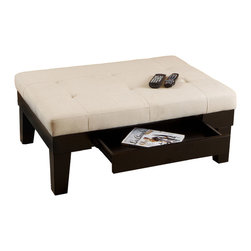 Great Deal Furniture - Tucson Natural Fabric Storage Ottoman Coffee Table - Tucson Fabric Storage Ottoman Coffee Table is a great way to help you organize your living room in a classic and tasteful fashion. The storage drawer is ideal for books, magazines, and especially remote controls, and it seamlessly blends in with the hardwood side paneling of the ottoman. Natural linen fabric is upholstered to perfectly fit the hardwood frame. Beneath this highly desired exterior lies advanced padding that will hold its shape for many years. Use this ottoman in your living room, bedroom or office.