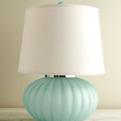 Sea Glass Ball Table Lamp - I like the soft touch of sea glass for a perfect touch of pastel. This table lamp would look fantastic in pairs at both ends of a richly colored sofa.